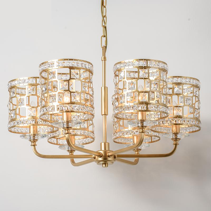 American Style Crystal For Chandeliers Living Room Iron Lamp Modern Dining Room LED Lamp Hotel gold Chandelier Lighting lustre hghomeart modern chandelier light led contemporary gold crystal chandeliers lustre nursery suspension for living dining room