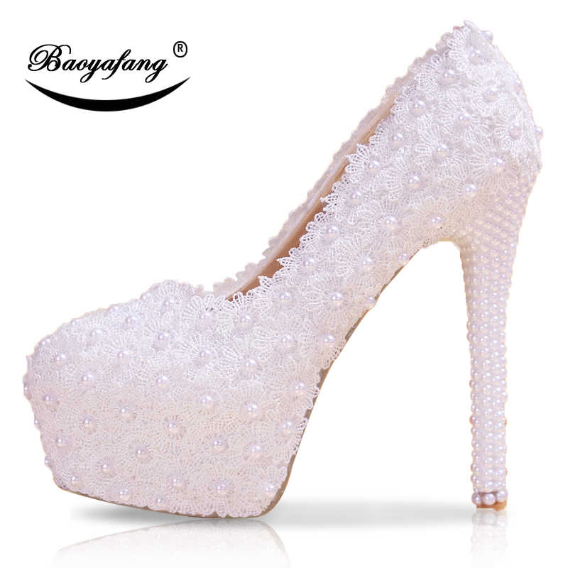 5d057a005 New womens wedding Flower shoes woman High heels Pumps Insole Platform  shoes White/black/