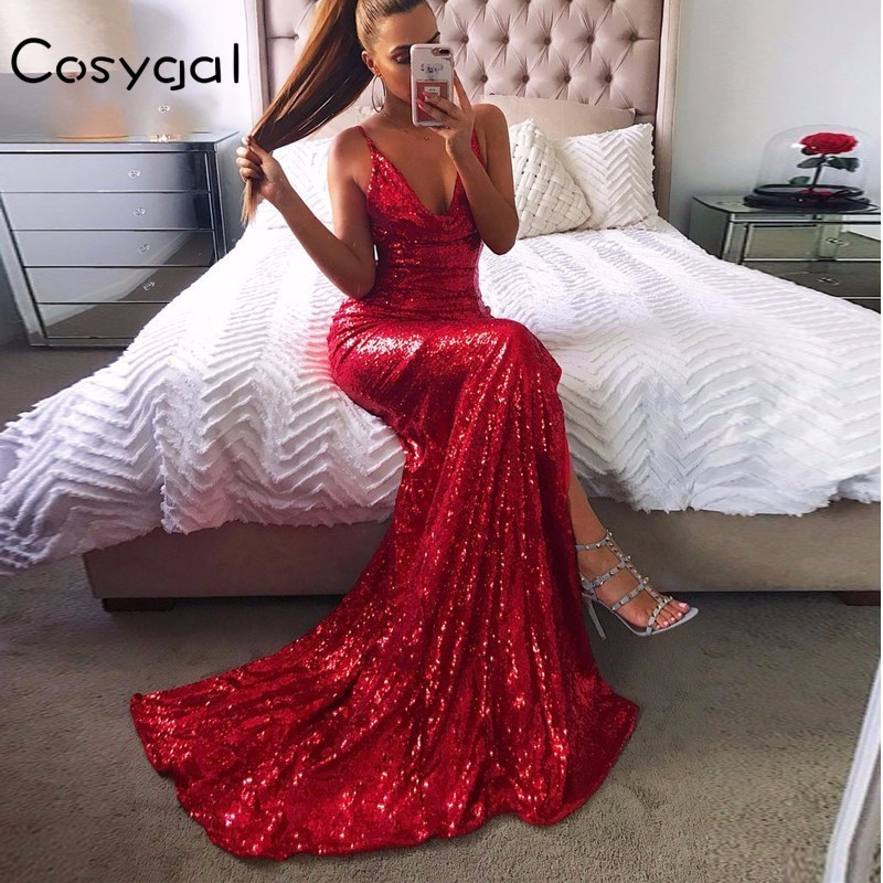 Detail Feedback Questions about COSYGAL Summer New Banquet V Neck Sequin Maxi  Dress 2018 Sexy Spaghetti Strap Backless Dresses Women Club Party Elegant  ... 3c8f9e5970bf