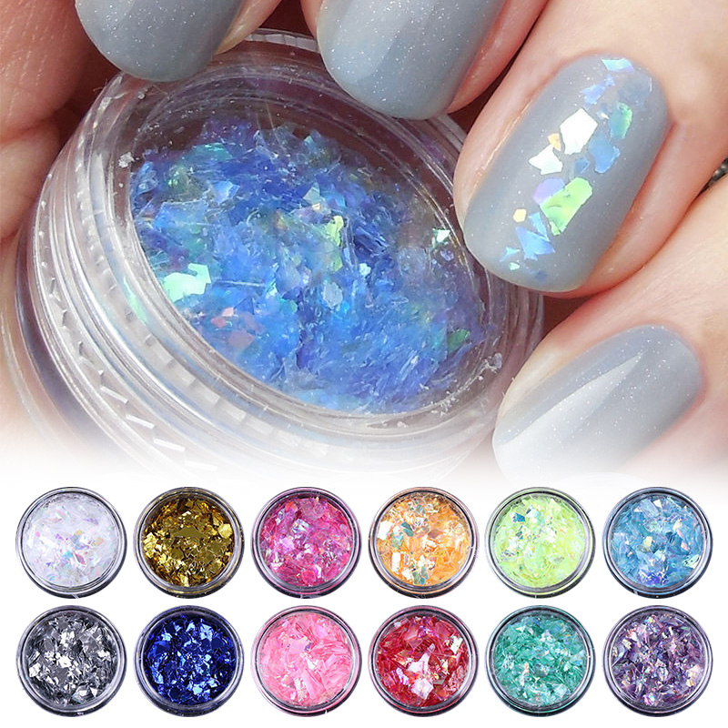 Shellhard 12Colors/Set Iced Mylar Nail Art Flakes Professional DIY Nail Tips Glitter Decals for Nail Art Decoration