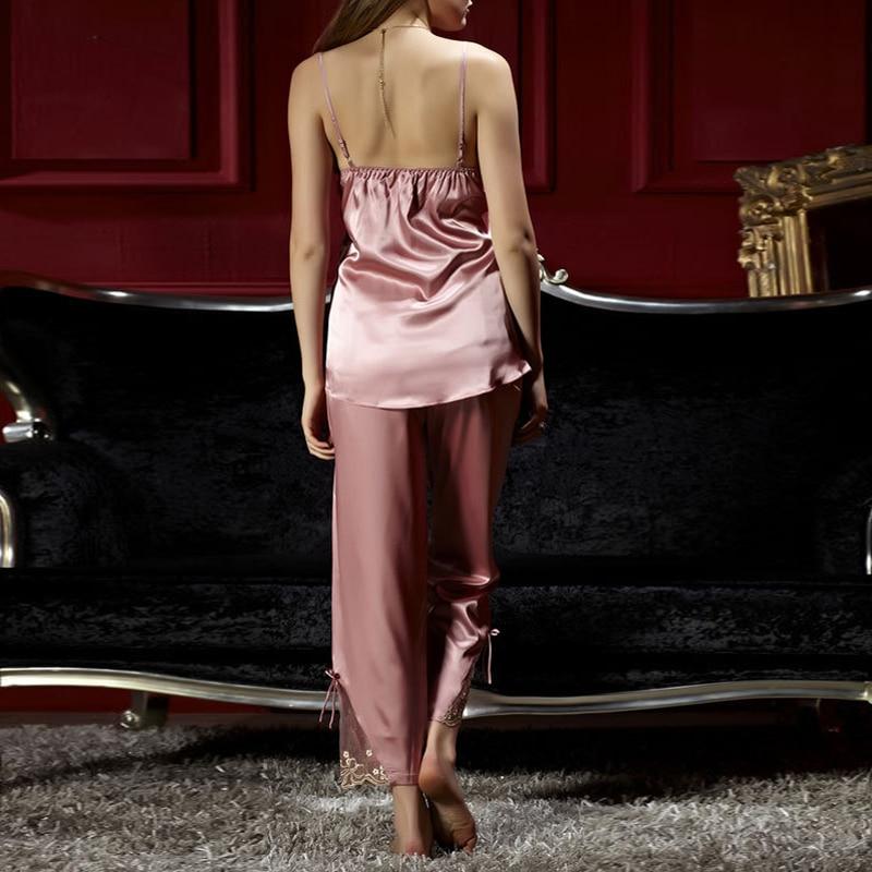 Jinsen Aite alta calidad Primavera Verano lindo mujeres seda satén 3 piezas ropa de dormir Sexy grande más tamaño pijama traje de dormir conjuntos de JS567 - 3
