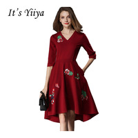 It S YiiYa Wed Red V Neck Half Sleeves Knee Length Evening Dresses Simple Prom High