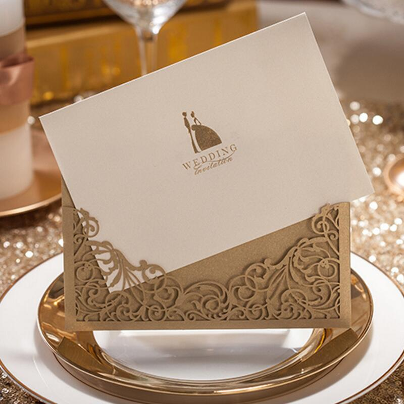 50pcs/pack Laser Cut Wedding Invitations Cards Kit Square Lace Flower for Engagement Party Birthday Anniversary Casamento цены онлайн