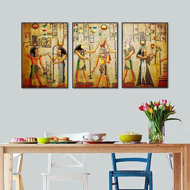 Modular Egypt Poster Canvas Prints Oil Painting 3pcs Ancient ...