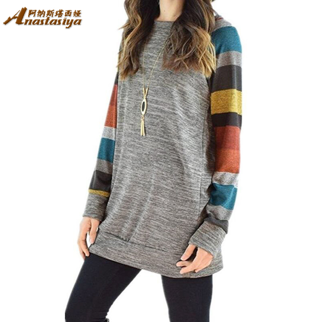 Fashion Loose Oneck Long Sleeve Tshirt Printed Tops Tee Shirt Femme Pocket Striped Sleeves Shirt For Women Plus Size