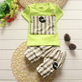Summer Short Sleeved Baby Boys Striped T-shirt Sets Korean Style Casual Cotton Trouser Suits