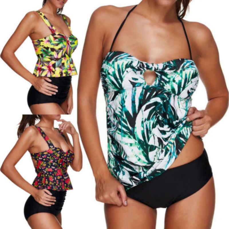 Femmes à volants Floral push-up rembourré soutien-gorge taille haute Bikini ensemble 2018 maillots de bain plage pour femme maillot de bain Stretch