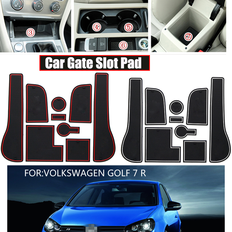 Good Quality 9pcs Car Styling Silica Gel Gate Slot Pad Interior Car Cup Mat Stickers For Volkswagen GOLF 7 R Car Accessories