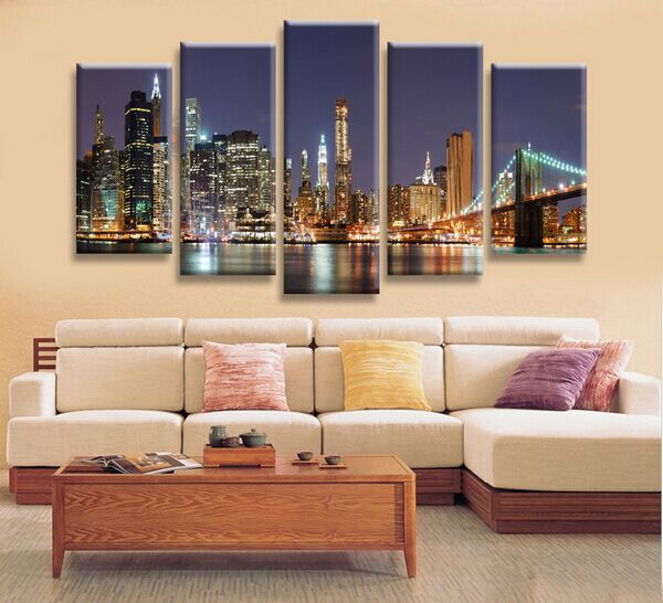 High Precision Print Canvas Set of 5 HOME DECOR Beautiful Busy city bridge Stretched Canvas Printed Ready to Hang in Painting Calligraphy from Home Garden