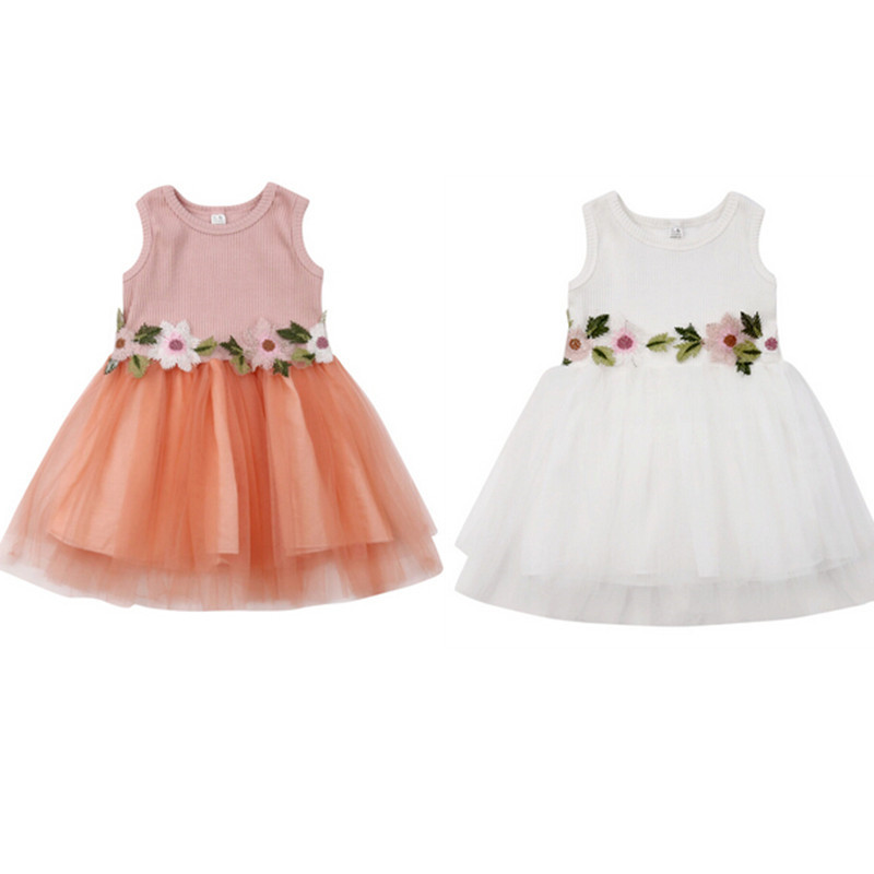 Toddler <font><b>Kids</b></font> Girls Summer <font><b>Dress</b></font> 2019 Fashion Baby Girls Lace Tulle Sleeveless <font><b>Dress</b></font> Appliques Floral Princess <font><b>Cocktail</b></font> <font><b>Dresses</b></font> image