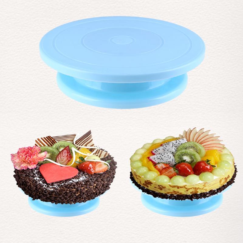 Kunststoff Kuchen Platte Drehteller-drehmechanismus Anti-skid Runde Tortenständer Kuchen Dekorieren Drehtisch Küche DIY Pan Backen Werkzeug