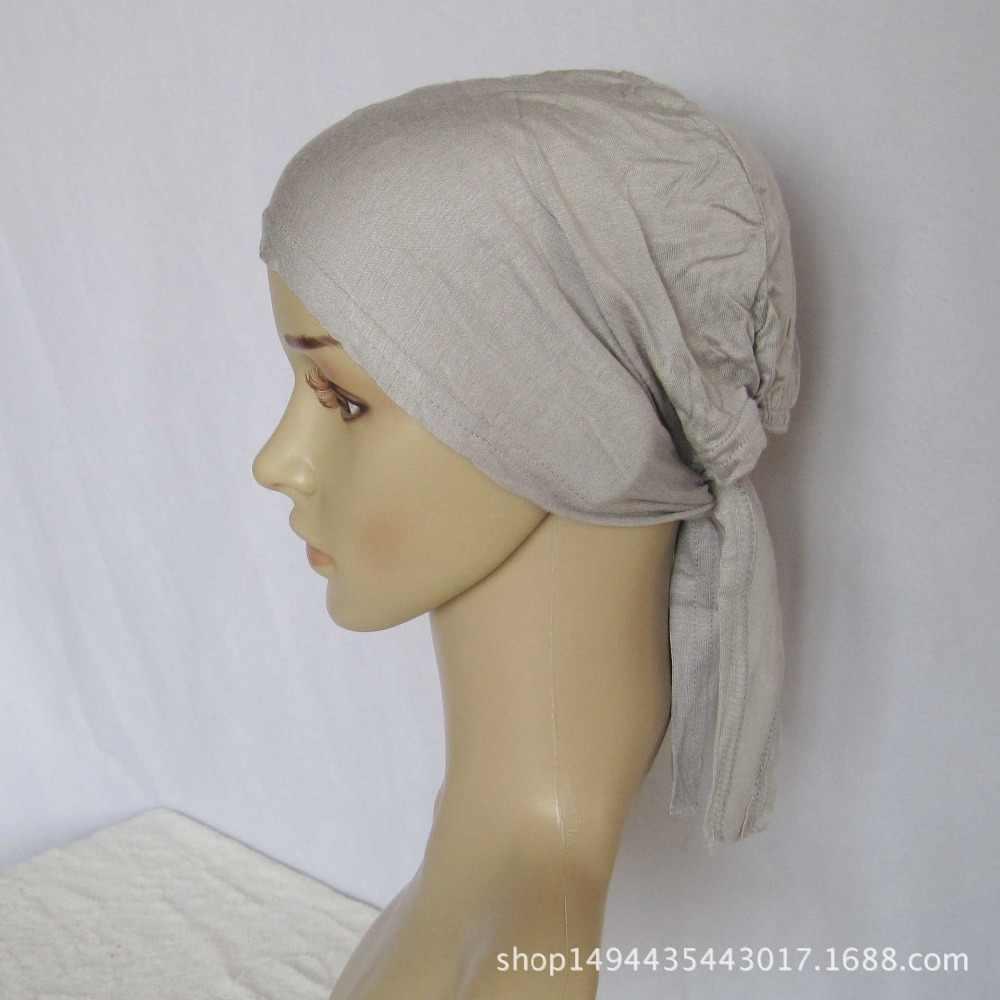 Cubierta completa interior de algodón musulmán Hijab gorra islámica cabeza llevar sombrero debajo de la bufanda hueso Bonnet turco bufandas