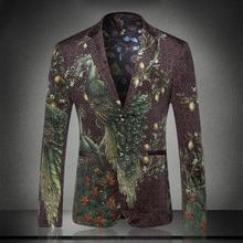 male costume blazer coat new printed character business casual slim European high-end jacket singer dancer star nightclub