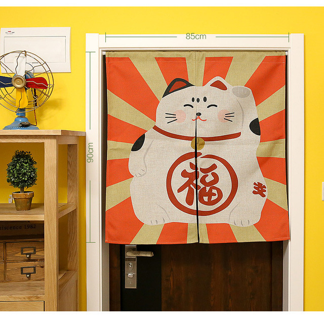 japanese lucky cat door curtains room divider blackout cotton