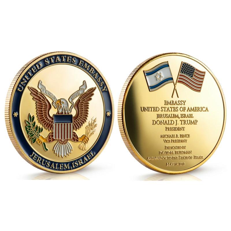 Ebay hot selling, United States Embassy Jerusalem Israel Challenge Coin -  Dedicated May 14, 2018