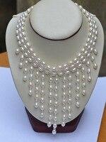 Благородный Женщины подарок серебряные украшения застежка 17 дюймов AAA + круглый из натурального пресноводного жемчуга, размером 7 8 мм AAA жем