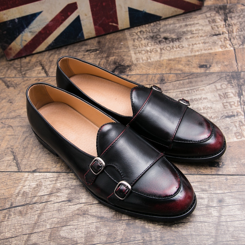 British Style Vintage Men Moccasins Loafers Youngster Men Double Buckle Monk Shoes Trend Men Slip On Leather Casual Men Flats fashionable buckle and double zipper design casual shoes for men