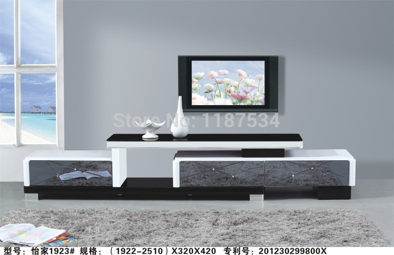 1923# Living room wooden glass stretch TV stand modern furniture ...