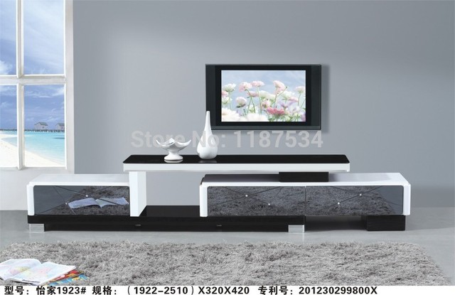 1923# Living Room Wooden Glass Stretch TV Stand Modern