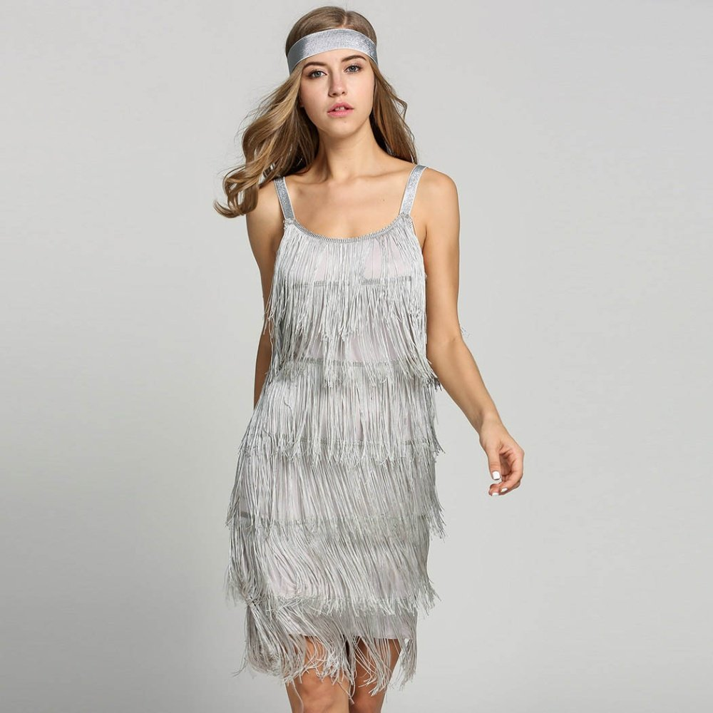 Gatsby Dresses: 1920s Great Gatsby Dress Slash Neck Strappy Tiered Fringe