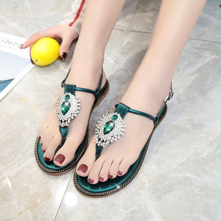 2018 New Summer Women Sandals Shoes Snake Skin Straps Gem Rhinestone Flat  Sandals Roman Thong Sandals Shoes Woman 3562 7355008ff227