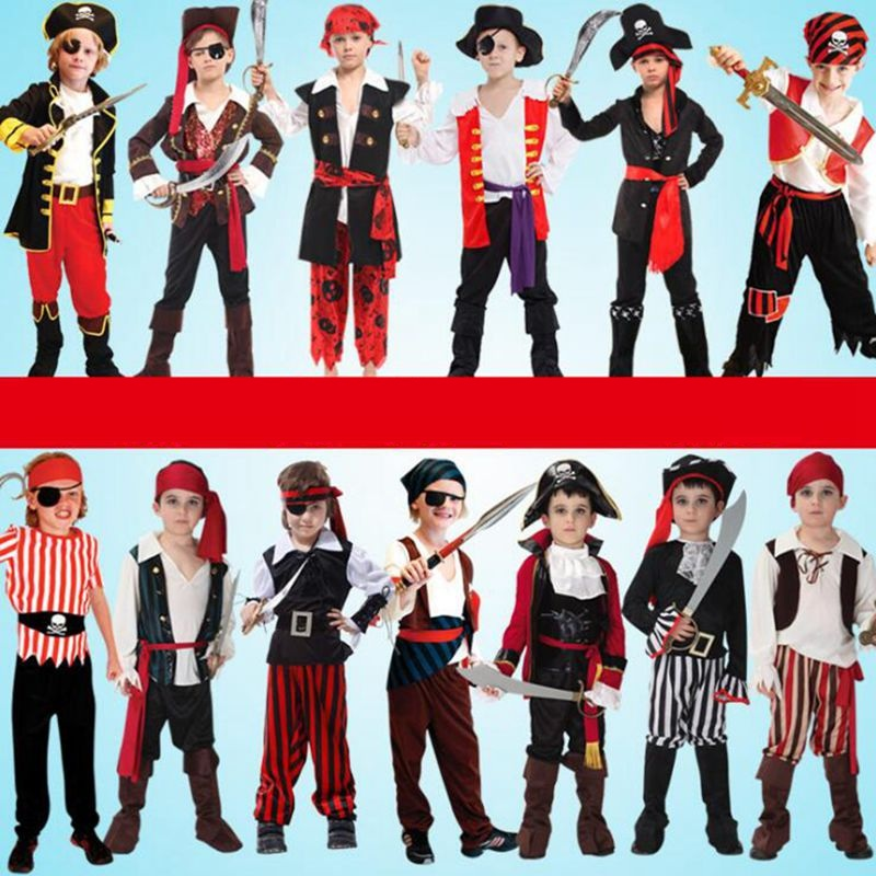 Halloween Carnival Party Costume Girl's Children Pirate Costumes Fantasia Infantile Boy's Cosplay Clothing In Performance Party