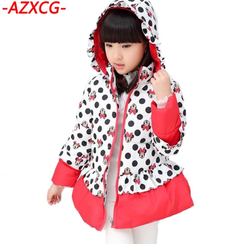 Girls Mickey Down Jacket 2018 New Fashion Baby Girls Winter Coat Children Clothing Hooded Jacket Kids Outerwear Snowsuit