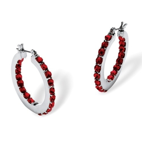 Palmbeach Jewelry 5406407 Birthstone Inside Out Hoop Earrings In Silvertone July - Simulated Red Stone inside out