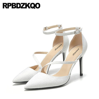 3 Inch Ankle Strap Glitter Prom Ladies White Pointed Toe High Heels Scarpin Silver Sandals Shoes Pumps Size 33 Gun Color Plus