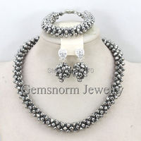 Handmade Fashion Necklace Bracelet Earrings Set Jewelry Beads Crystal Lady Jewelry Set Free Shipping GS946