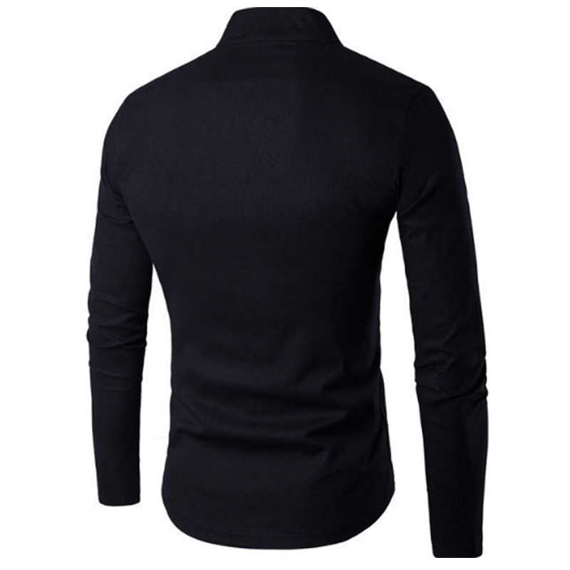 唐スーツ 2019 ファッションカジュアル固体マンダリンカラー長袖リネンシャツ男性スリムフィット社会ドレスシャツ白黒