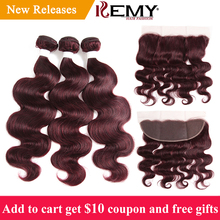 hot deal buy 99j/burgundy red human hair bundles with frontal 13*4 kemy hair 3pcs body wave hair bundles brazilian remy hair weaves bundles