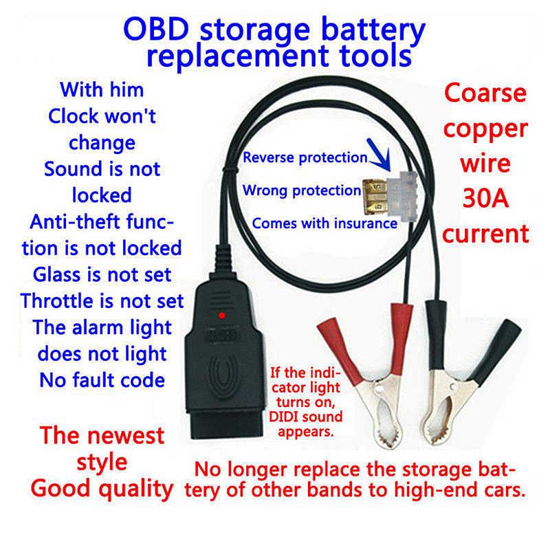 Profesjonalny uniwersalny OBD2 samochodowych bateria zastępcza narzędzia samochodowe narzędzia do komputera ECU MEMORY Saver Auto zasilanie awaryjne kabel