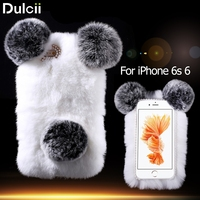 For IPhone 6s 6 Panda Shape Warm Rabbit Fur Pearl Rhinestone Hard Case Cover For IPhone