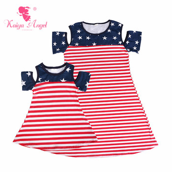 Kaiya Angel 4th Of July Hot Mom and Daughter Matching Clothes Red and White Stripe Cotton Navy Blue Stars Family Dresses