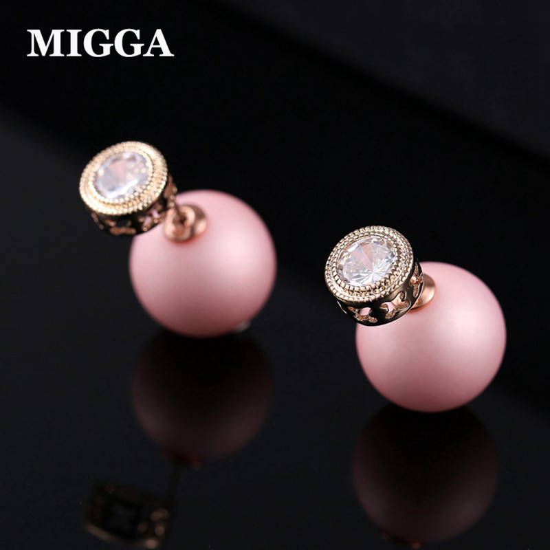 MIGGA Trendy Pink Imitation Pearl Back Cubic Zirconia Double Sides Stud Earrings for Women Rose Gold Color