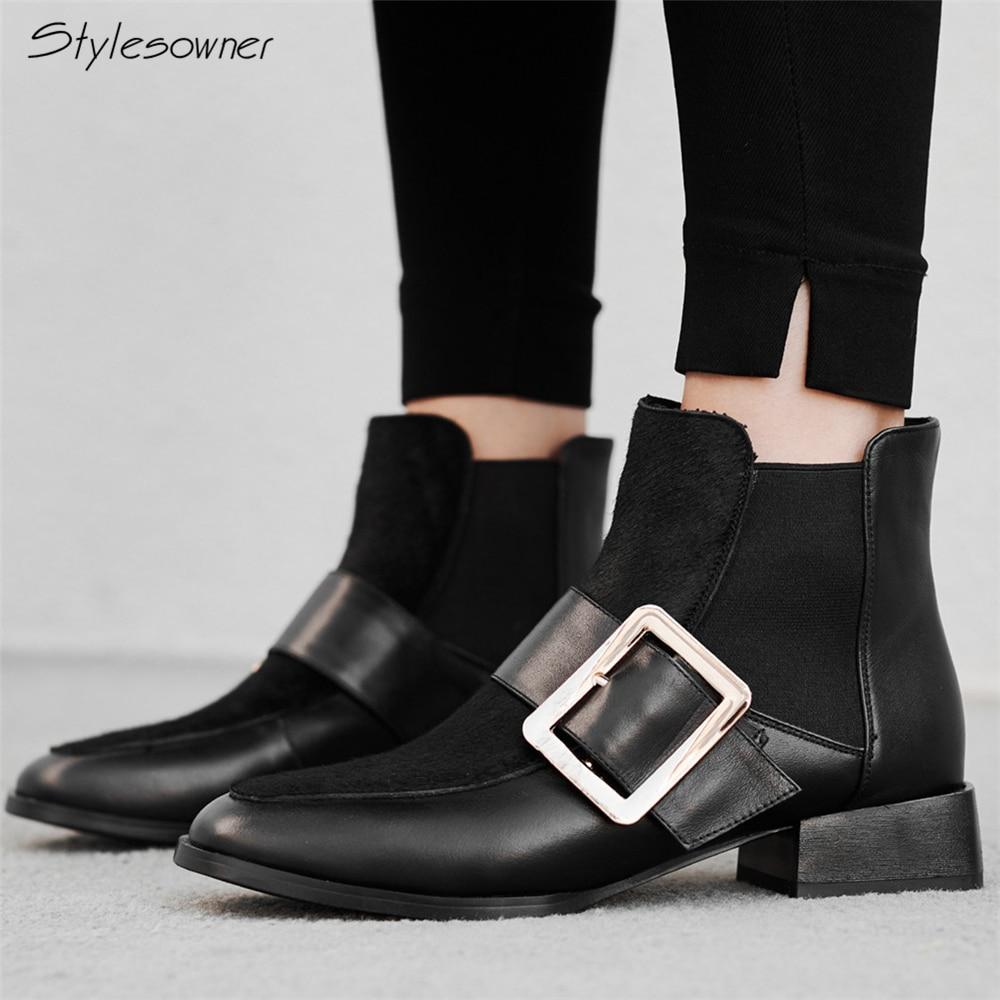 Stylespropriétaire femmes en cuir véritable Chelsea bottes Patchwork cheveux de cheval courtes bottines femme en métal grande boucle Botas bottes décontractées