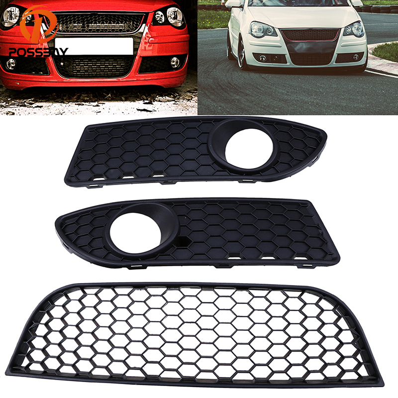 POSSBAY Front Lower Bumper Fog Light Cover Grilles Center Grill Vent for VW Polo MK4 9N3 2005 2006 2007 2008 2009 Facelift