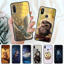 Zwart Siliconen Case Bag Cover voor Xiao mi mi A1 A2 8 LITE spelen Rode Mi Note 7 6 6A 5 Plus 4X Pro Poco F1 Leuke Uilen Cartoon Dier(China)