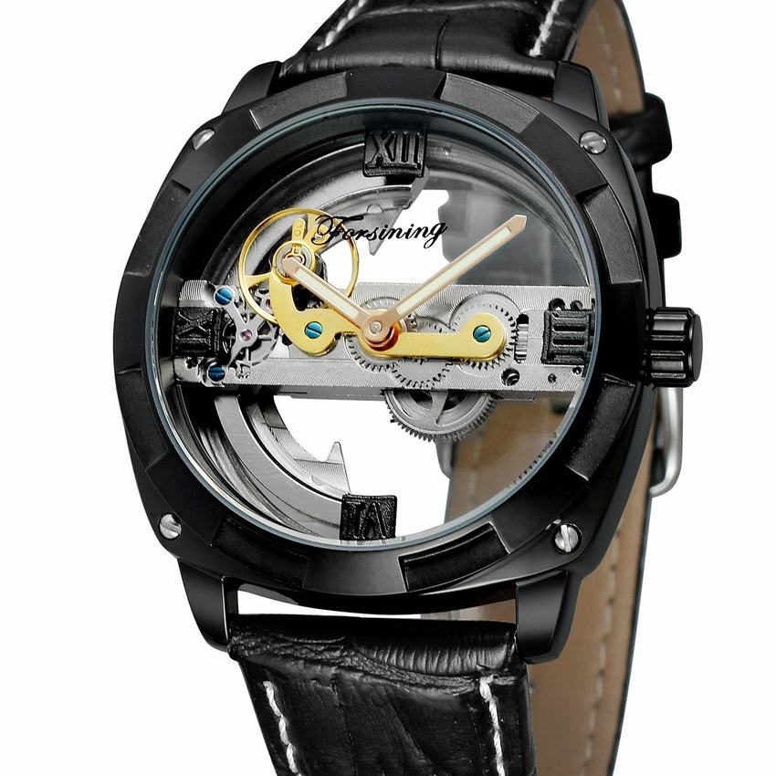 Forsining Hollow Out Skeleton Tourbillon Watches Men Luxury Brand Automatic Mechanical Wrist Watch Genuine Leather Brand Clock black blade ceramic knife set chef s kitchen knives 4 size