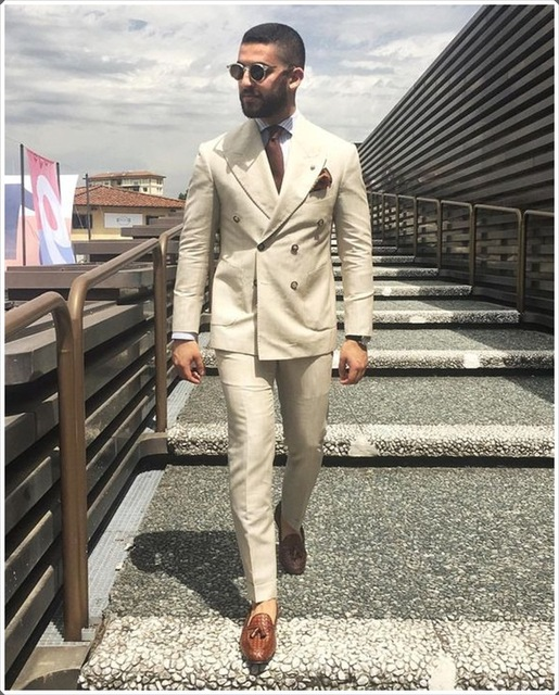 2020 neuesten Mantel Hose Designs Elfenbein Beige Zweireiher Männer Anzug Formale Dünne Fit Sanfte Blazer Custom 2 Stück herren anzüge Terno-in Anzüge aus Herrenbekleidung bei  Gruppe 2