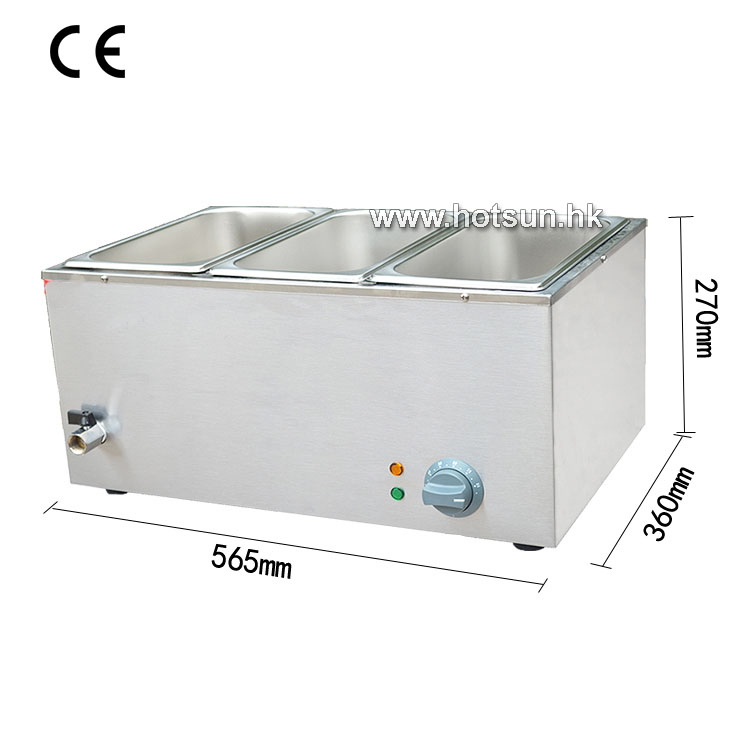 Commercial 220V 3-pan Electric Bain Marie Food Warmer with Tap