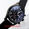 42mm parnis black dial PVD case  day date quartz Full chronograph mens watch