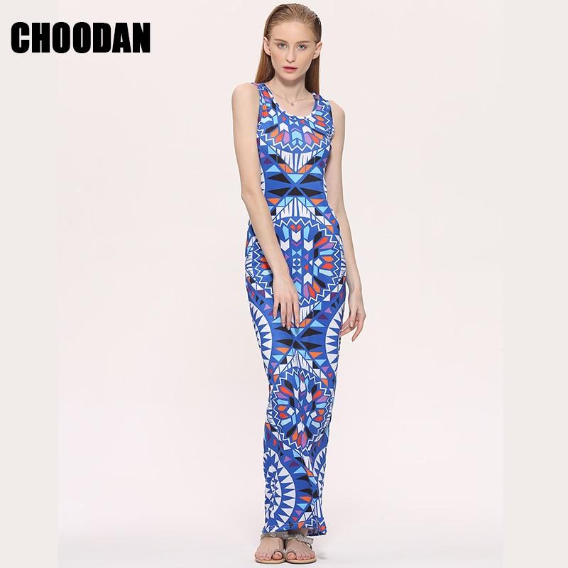 Maxi Dress Summer Bohemian Boho Dress 2017 New Fashion Sexy Sleeveless Print Bandage Tank Long