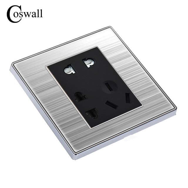 COSWALL 7 Pin Outlet Luxus Wand Steckdose Enchufe Edelstahl Panel ...