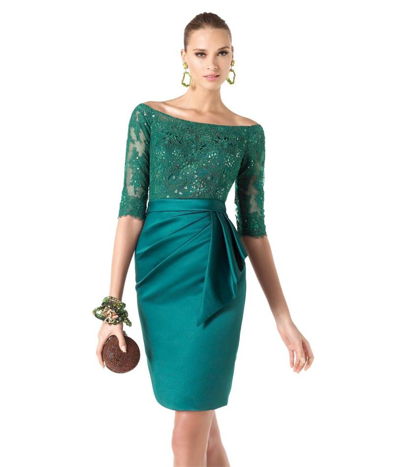 2017 Elegant Emerald Green Mother Of The Bride Dress Off Shoulder Half Sleeve Vestidos De Madre La Novia Wedding Guest Outfit In