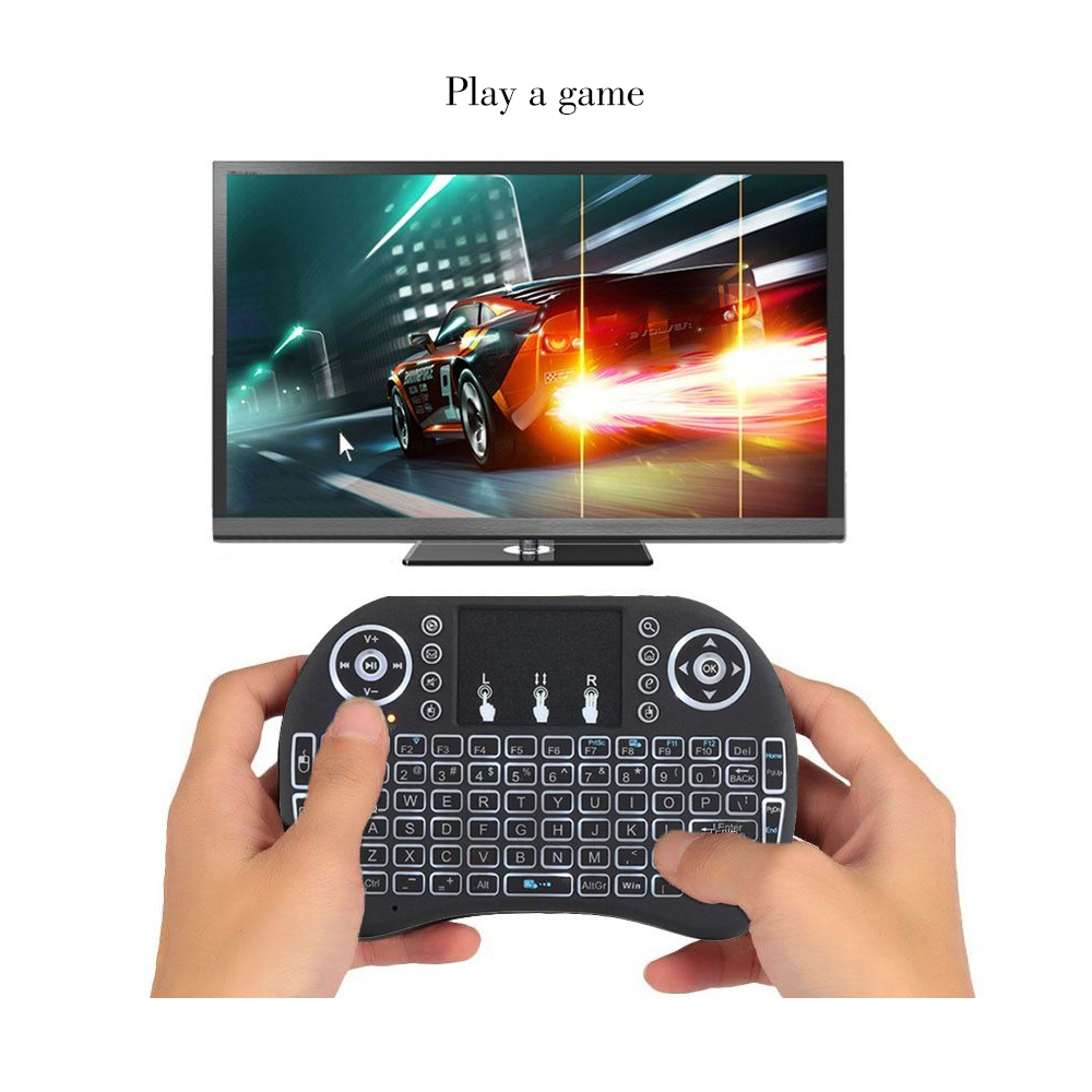 Image 5 - Vmade i8 Backlit Keyboard English Russian Spanish 3 Color Mini Wireless Air Mouse 2.4GHZ Touchpad Laptop For Android Box X96-in Keyboards from Computer & Office