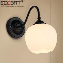 ECOBRT Vintage Glass Ball Wall Lamps Bedroom kitchen Mirror Light Luminaria Lamparas Brief Dining Restaurant Sconces