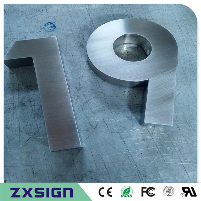 Factory Outlet Outdoor 304# Mirror Polished Brushed Stainless Steel House Number Sign For 10cm(=4 Inches) High
