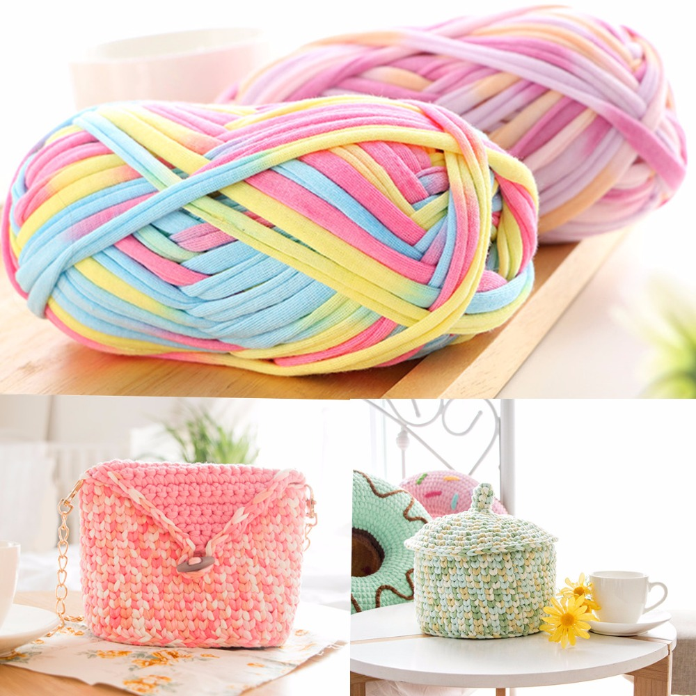 Colourful DIY Crochet Cloth Carpets Yarn 100g Acrylic Wool Knitting Paragraph Hand-knitted Thick Knit Basket Blanket Toys Yarn